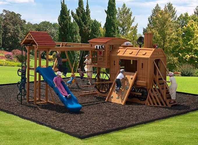Attirant Kids Wooden Playset By Play Mor Swings Sets Of Millersburg, Ohio. Quality  Sturdy Wooden Playset Built In Amish Country Create Playtime Fun And A  Lifetime Of ...