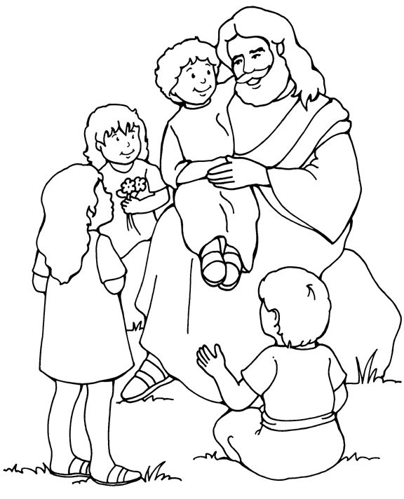 jesus and the children coloring page - Drawing For Small Children