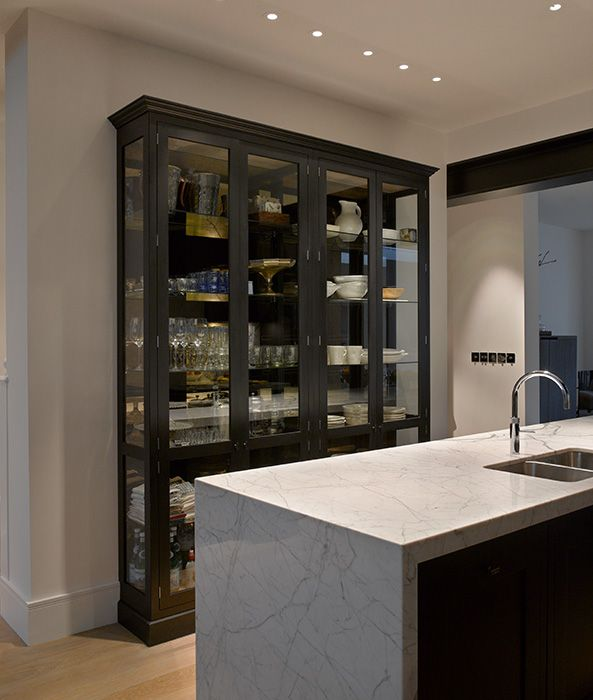 Roundhouse Classic matt lacquer bespoke kitchen with Nightingale cabinet