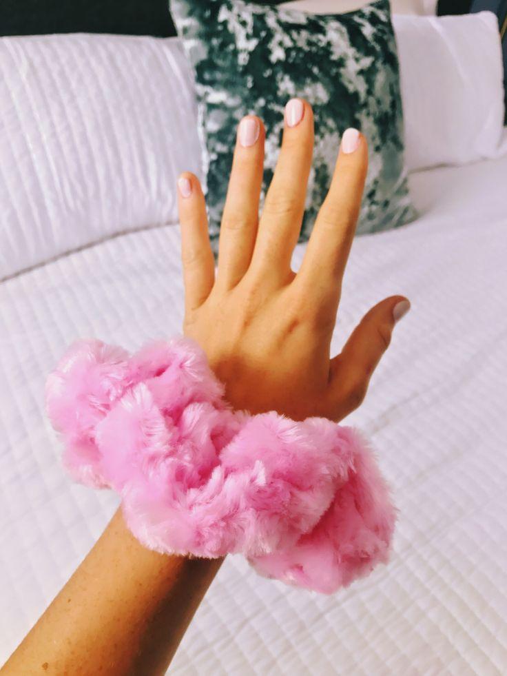 Fluffy Pink Scrunchie