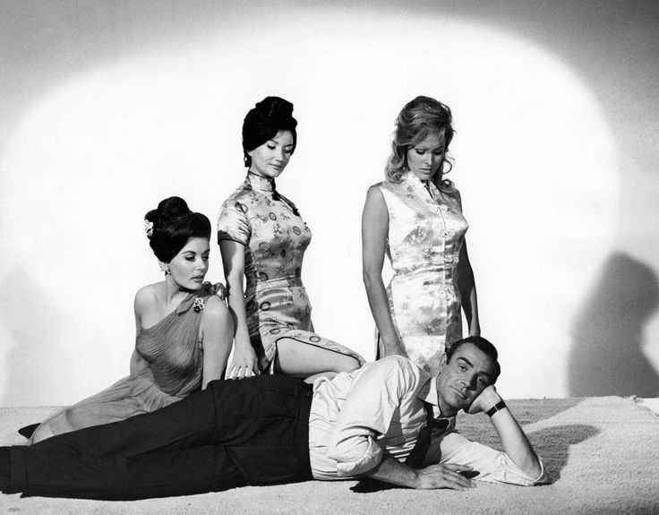 The first and best Bond, Sean Connery, with the girls from Dr. No (1962): Eunice Gayson, Zena Marshall and Ursula Andress