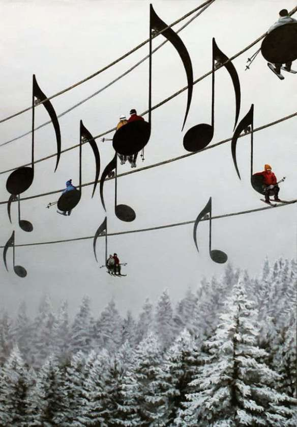 Musical ski lift chairs, Jara Mountains, France.