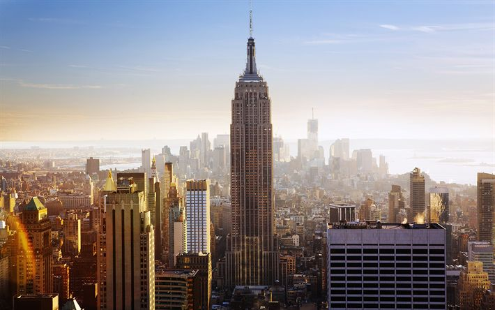 Download wallpapers 4k, Empire State Building, cityscapes, morning, sunrice, Manhattan, USA, New York, America