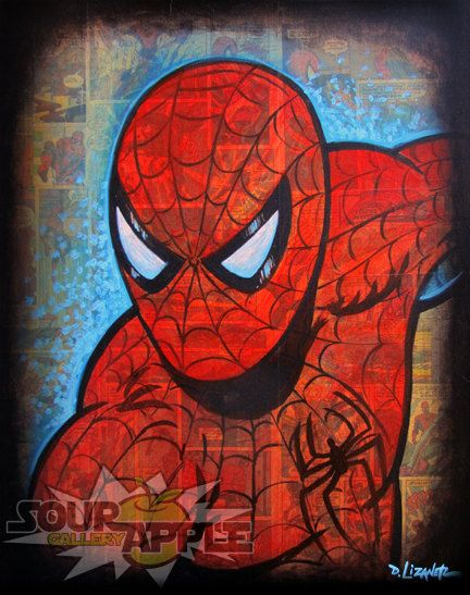 11x14 Spider-Man, Spiderman, Superhero Comic Artwork, Signed and Numbered Print by David Lizanetz - acrylic paint on comic pages