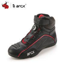 Cuero de vaca arcx zapatos de carreras de motos de carretera calle moto cruiser touring cordones biker moto botas de montar con perilla de ajuste(China (Mainland))