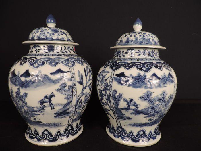 Paar blauw/witte vazen met deksel - China - 19e eeuw