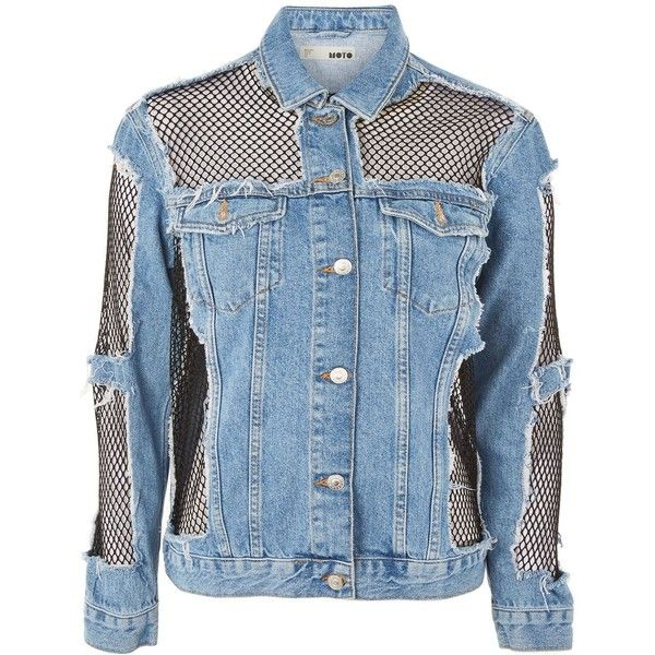 Topshop Moto Oversized Denim Fishnet Jacket ($91) ❤ liked on Polyvore featuring outerwear, jackets, topshop, denim, tops, mid stone, blue jean jacket, topshop jackets, jean jacket and oversized jean jacket