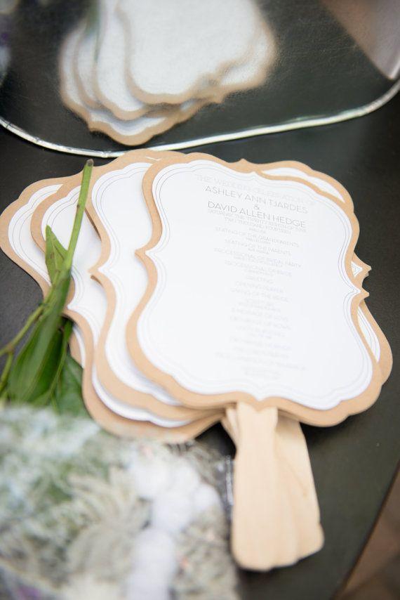 Sample - Wedding Program Fan - Event Program Fan - Unique - Elegant - Rustic - Kraft & Shimmer - Multi-Layer Program