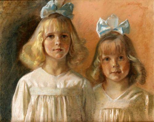 Johannes Nørretranders (1871 – 1957, Danish), Sisters I AM A CHILD-children in art history blog
