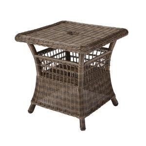 hampton bay spring haven grey patio umbrella side table