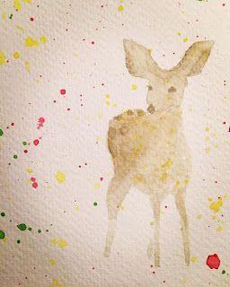 YEJI KIM: Joyousness - deer, art, watercolor, colorful, hand-made