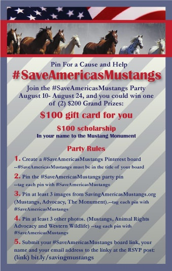 Come join me at the #saveamericasmustangs  Pinterest Party . You will love the stories and photos! Plus add your own. AND You can WIN! #cbias