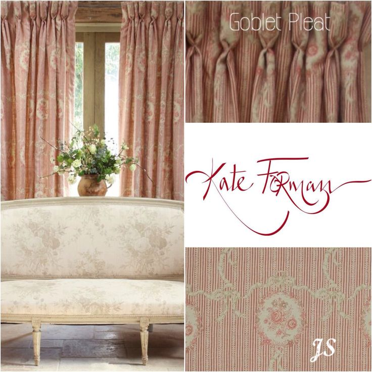 Goblet Pleat, Curtain fabric: Cameo & Ribbons Tuscan Pink - Kate Forman Inspiration by Joanne Sandford - Images supplied by Kate Forman Designs