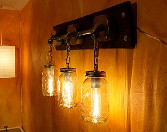 JARS OF LIGHT- Industrial Mason Jar Lighting Sconce  Handcrafted  with Galvanized Conduit & Stained Decorative Wood Base.
