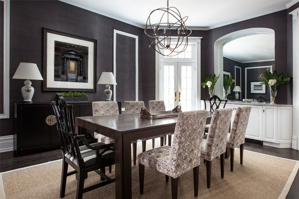 charcoal grasscloth dining room