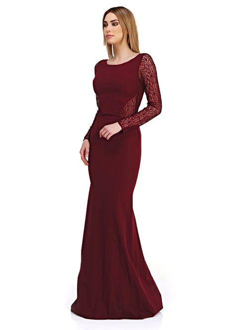 a11d0078a1b0d Pierre Cardin Kadın Uzun Abiye Elbise Bordo | Morhipo | 22063643 ...