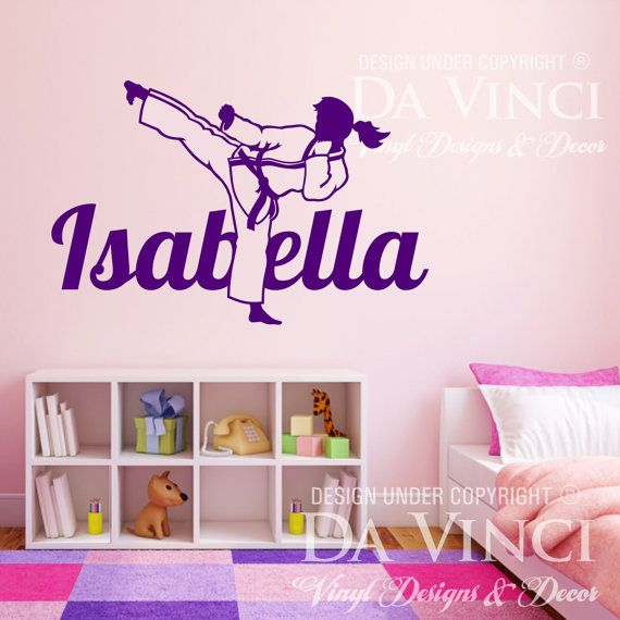 Karate Martial Arts Wall Room Personalized Custom Girl  Women Name Vinyl Wall Decal Sticker Decoration