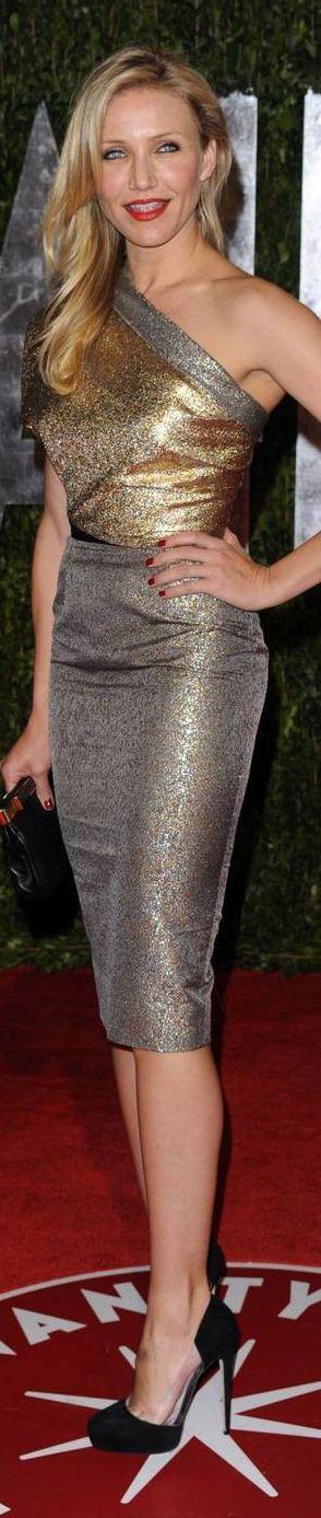 Cameron Diaz wears a Victoria Beckham dress to a Vanity Fair party