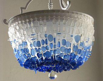The 25 best sea glass chandelier ideas on pinterest blue sea glass chandelier lighting flush mount ceiling light fixture coastal decor beach glass lighting sea glass aloadofball Images