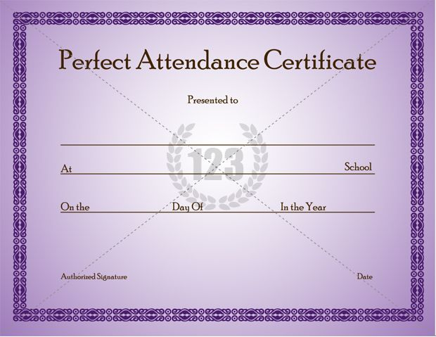 Perfect Attendance Certificate Template can given to students who have presented on a particular day or participated in an event as per the school records. Also can give it as a appraisal of the full attendance secured during the year end or semester ends.