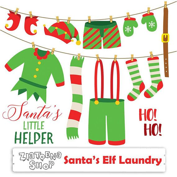 Santas Elf Laundry Clip Art Elf clip art Christmas Clipart Holiday Clipart Elf Clothes clipart Winter clipart Scarf Socks Belt ✔ Each clipart illustration is included separately as a high resolution PNG file with a transparent background, a JPG with a white background and as an editable SVG