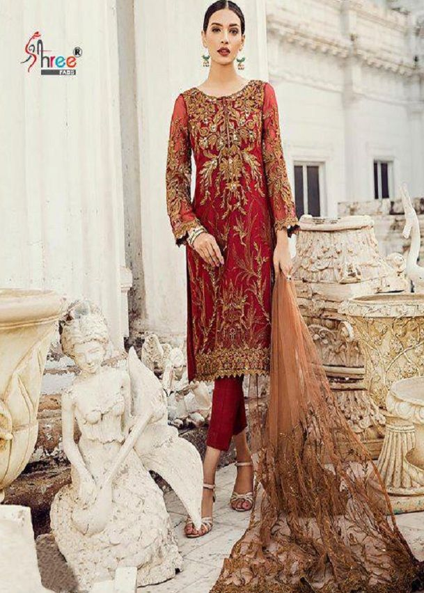 5a9403db32 Shree Fabs Iznik Embroidery Collection Vol 3 Georgette With Heavy Embroidery  Suit 7032