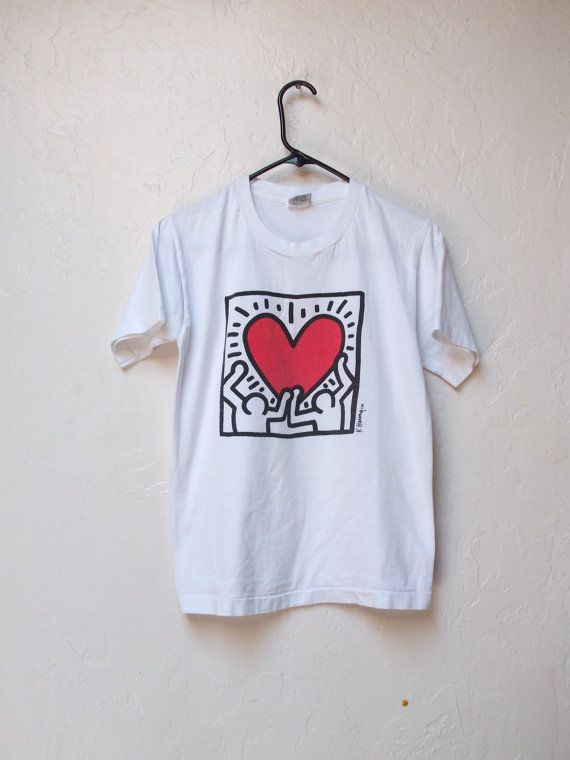 Vintage Official Pop Shop Keith Haring T Shirt circa 1989