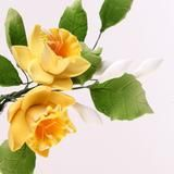 Yellow Gumpaste Daffodil Sugarflowers are perfect cake decorating fondant wedding cakes & cupcakes. Handmade cake toppers from gumpaste/fondant. Wholesale sugarflower. Caljava Bakery Supplies