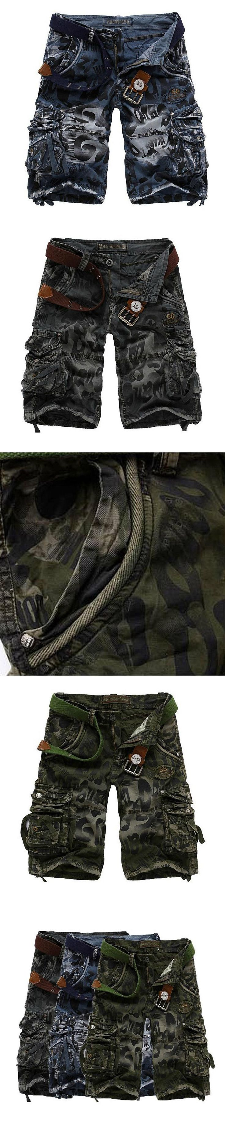Wei JiXiong Camouflage Cargo Shorts Men 2017 New Mens Casual Short Male Loose Work Shorts Military Plus Size 29-38 No Belt
