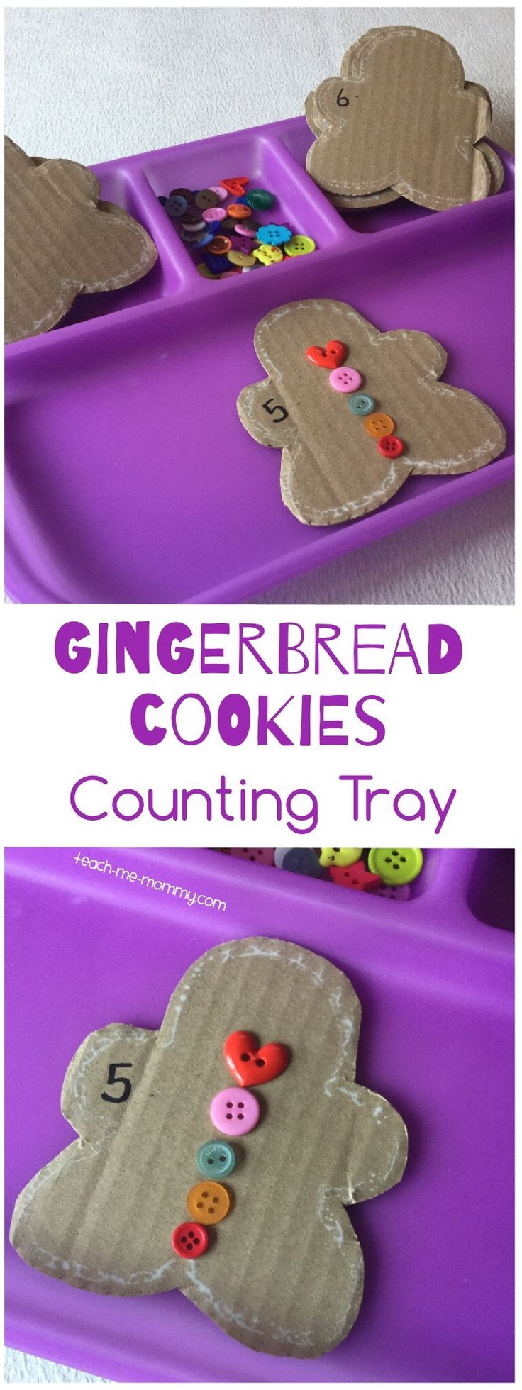 Your kids don't need to like the taste of gingerbread cookies(mine doesn't) with this fun counting activity! The gingerbread cookies was cut from cardboard using a cookie stamp as a stencil. The cookies were numbered. It was added to this purple tray together with buttons: Then, the child chooses a cookie and …