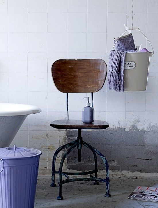 so many cute things: hanging bucket for toiletries, chair, purple trash can