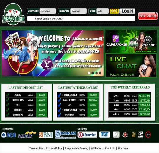 jasapoker.com tempat atau penyedia permainan texas poker secara real money, minimal deposit Rp. 15.000,- Support BCA, BNI, BRI dan Bank Mandiri.