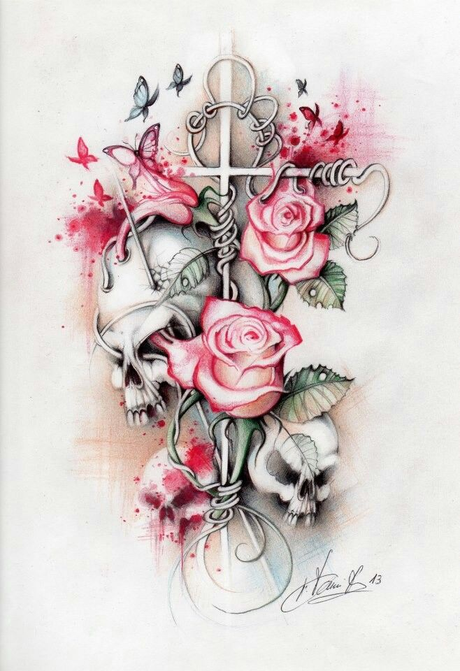 I love this but instead of the cross a horse shoe! For my upcoming sleeve(:
