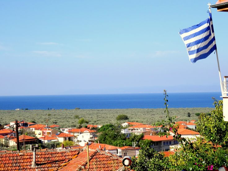 #blue #sky #greek #flag #sea #prinos #greece #thassos #island #view