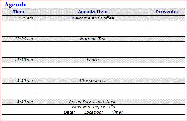 Sample Meeting Agendas