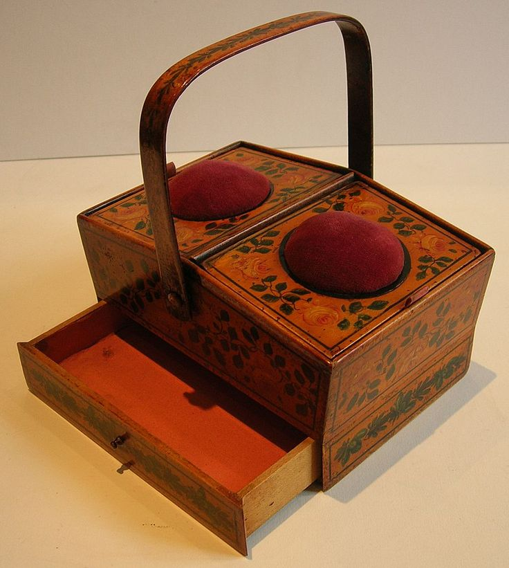 Rare English Late Georgian Painted Tunbridge Ware Sewing Box c.1810