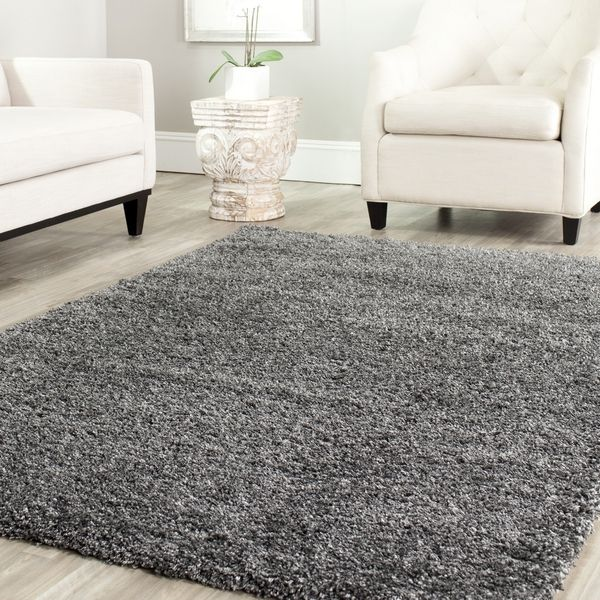 Safavieh California Cozy Solid Dark Grey Shag Rug (8u00276 Square)  (SG151 8484 9SQ), Size 8u00276 X 8u00276. Living Room ... Part 65