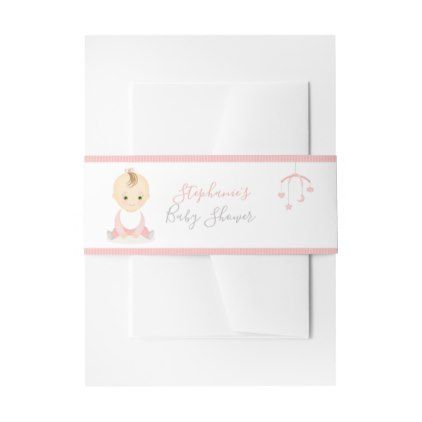 Cute Baby Girl and her Mobile Baby Shower Invitation Belly Band - shower gifts diy customize creative