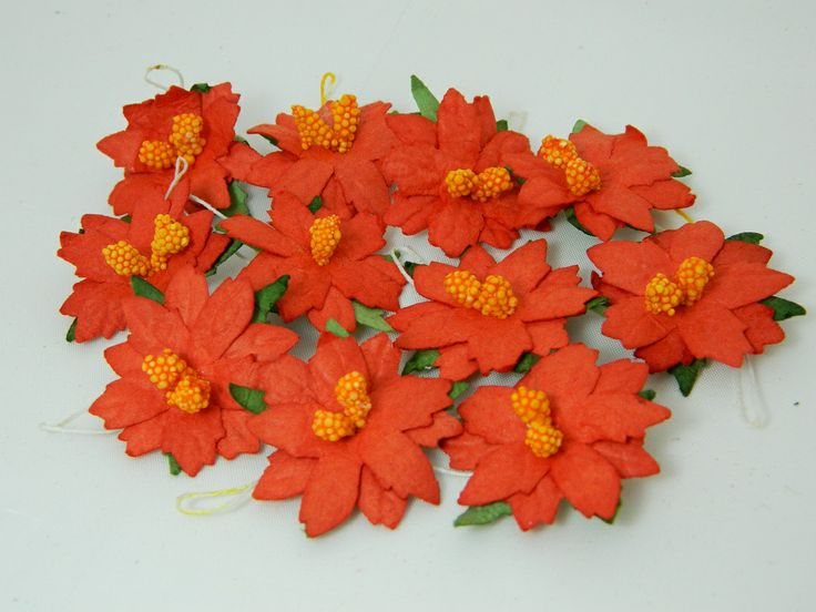 Poinsettia Red Paper Flowers 35mm (10pk)  For hand-made Christmas cards and gifts