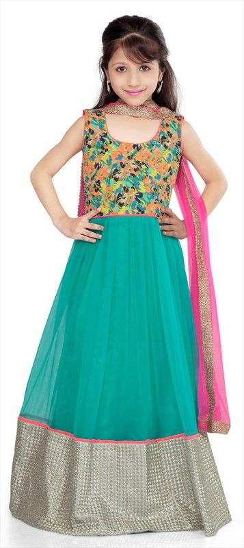 200565, Kids Salwar, Cotton, Patch, Zari, Border, Sequence  #kidswear #girlsfashion #green #anarkali #floral #embroidery #partywear #onlineshopping