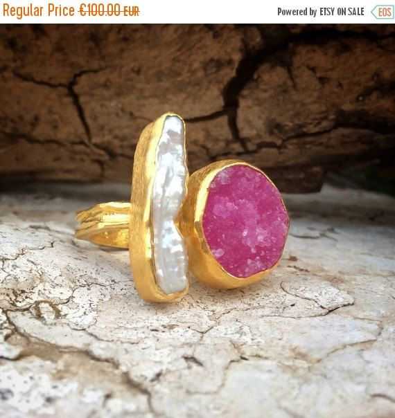 Fall Sales Druzy Ring Pearl Ring Pink Druzy Ring by KastoniJewels