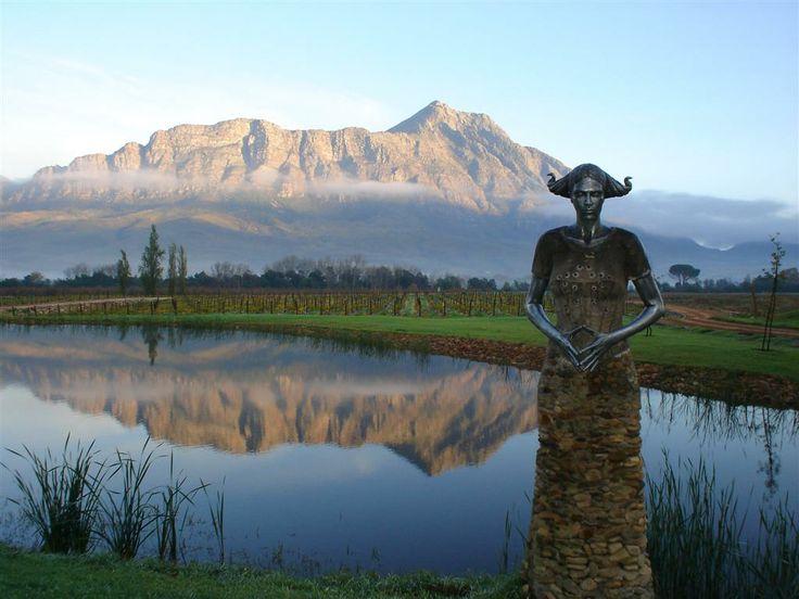 The sculpture overlooking the Saronsberg farm.