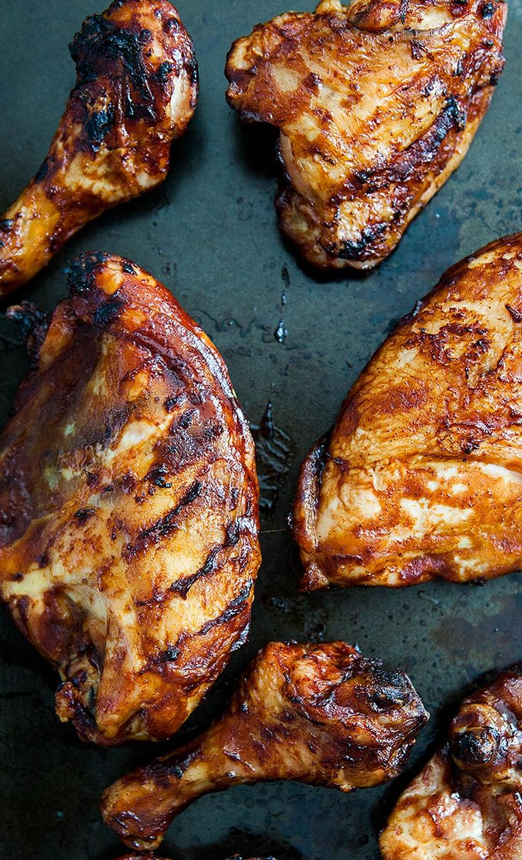 Learn how to make barbecued chicken on the grill! Slather it with your favorite barbecue sauce. On SimplyRecipes.com