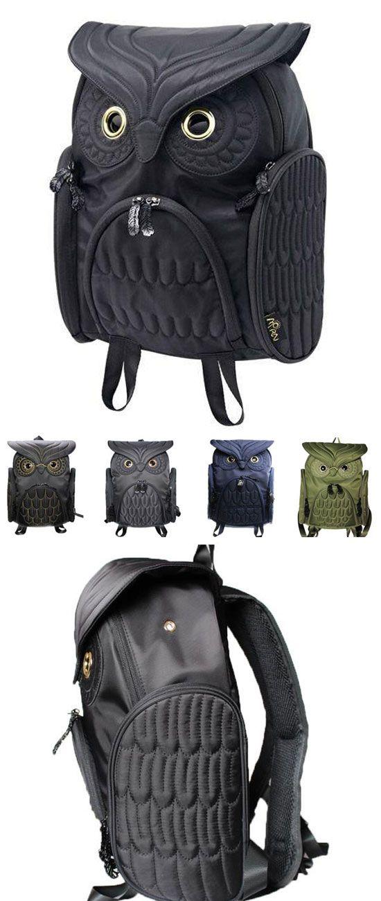 Which color do you like? Unique Cool Owl Shape Solid Computer Backpack School Bag Travel Bag #backpack #owl #animal #cute #bag #laptop #rucksack