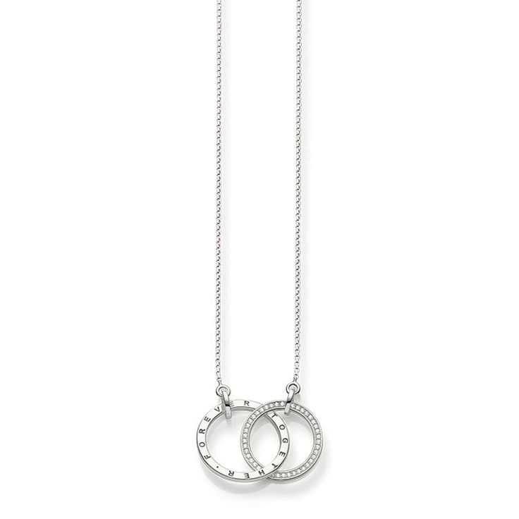 THOMAS SABO necklace from the Sterling Silver Collection. United forever – the intertwined rings of this necklaces in 925 Sterling silver with zirconia pavé represents the inseparable bonds of two lovers. The engraving Forever Together / Together Forever strengthens its symbolic power. [Artikeltabelle]Category:necklace Material:925 sterling silver Stones:zirconia white pavé Clasp:lobster clasp Measurements:size approx. 3,5 cm (1,37 Inch), Width approx. 0,1 cm (0,04 Inch)…