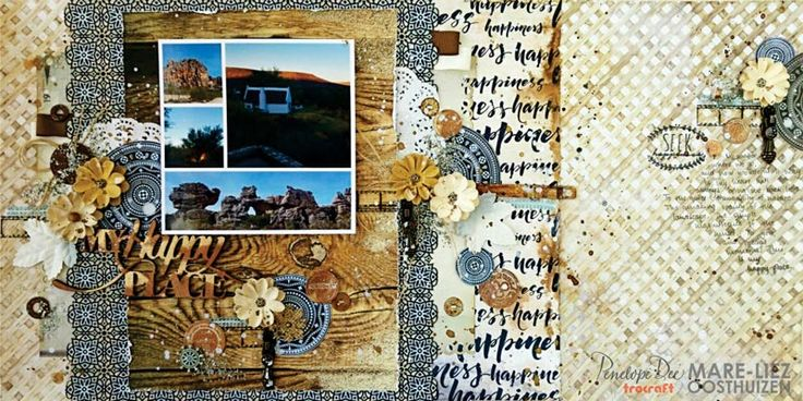 Double-page layout created by Mare-Liez Oosthuizen with the Summer Breeze Collection.