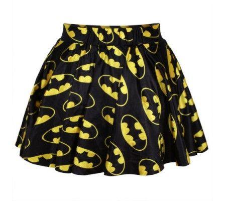 Black & Yellow Bat Man Digital Print Skater Mini Skirt from a-ttitudeapparel.com