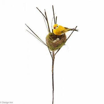Feather Bird on Mossy Nest 37cm