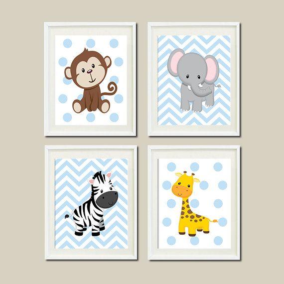 JUNGLE Nursery Wall Art ELEPHANT Giraffe Zebra Monkey Set