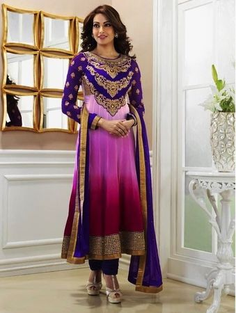 Bipasha Basu Latest Purple, Red & Pink Color Designer Bollywood Salwar Suit.